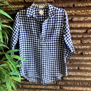 Chico's Blue White Gingham Check Linen Popover Top
